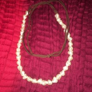 NWOT Pearl and leather cord necklace.